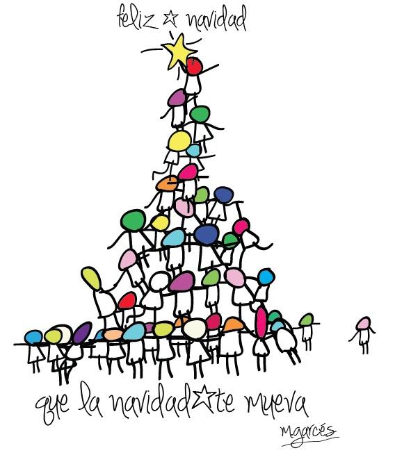 que la navidad nos mueva... diseño para la polar... ilustración margarita Garcés