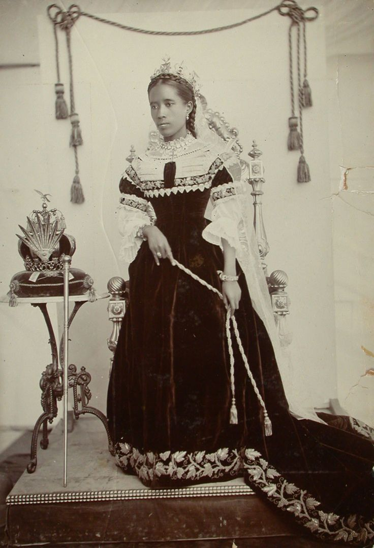 Queen Ranavalona III of Madagascar, ca. 1890-1895   Ranavalona III (November 22, 1861 – May 23, 1917) was the last sovereign of the Kingdom of Madagascar.  She ruled from July 30, 1883, to February 28, 1897, in a reign marked by ongoing and ultimately futile efforts to resist the colonial designs of the government of France. As a young woman, she was selected from among several Andriana (nobles) qualified to succeed Queen Ranavalona II upon her death.