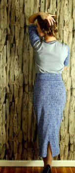 Criss Cross blau grau Swafing Wavy Stripes von lycklig Design koralle / mint # s…