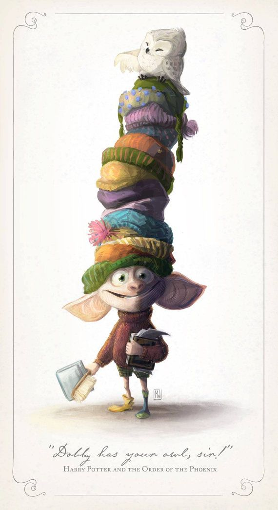 That's the part when dobby  turns up and he appears to have what looks like all of hermione's woolly hats one on top of the other on his head. I found this pic cute and funny at the same time.