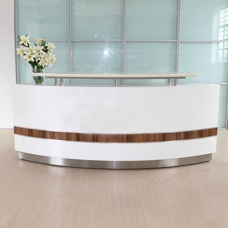 Modern white curved nail salon reception desk cheap front desk for sale
