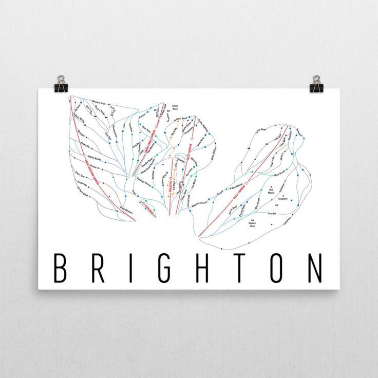 Brighton Ski Map Art, Trail Map, Print, Poster From $39.99 - ModernMapArt