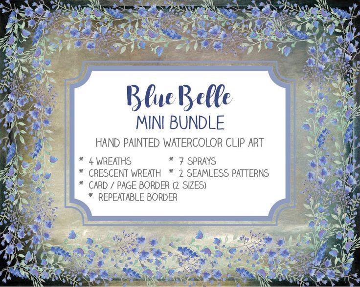Watercolor clip art bundle: Blue Belle; hand painted flowers; royal blue flowers; wedding clip art; weddings; instant download by LollysLaneShoppe on Etsy