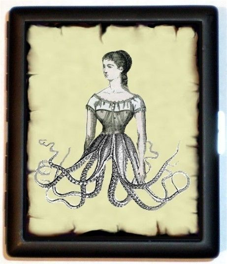 Surreal Victorian Woman Esoteric Victoriana Art Half Woman Half Octopus Nautical Oceanography Cigarette Id Case Business Card Holder Wallet. $9.99, via Etsy.