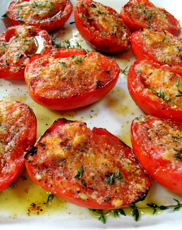 Garlic Grilled Tomatoes - Click for Recipe - Tomatoes, Garlic, Olive Oil, Herbs.   Crash Garlic, Oil & Herbs in a small bowl.  Brush Half sliced Tomatoes with the mix.  Throw into a frying pan or grill until slightly burned.