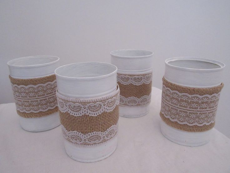 5x Handmade Hessian Tin Cans by BowsandSurprises on Etsy