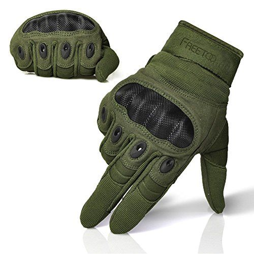 FREETOO® Adjustable Men's Tactical Gloves Hard Knuckle Sewn-in Brass Knuckles Reinforced Palm Back Wrist Protect Hand Provide Warm Driving/ Shooting/Sport/Fitness Army Green