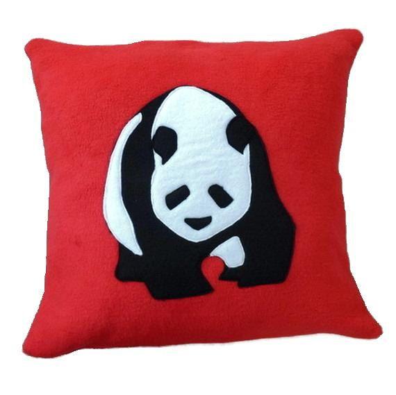 Panda cushion red applique fleece pillow kids cushion