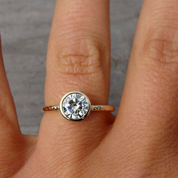 Forever One G H I Moissanite Engagement Ring Recycled 14k Yellow