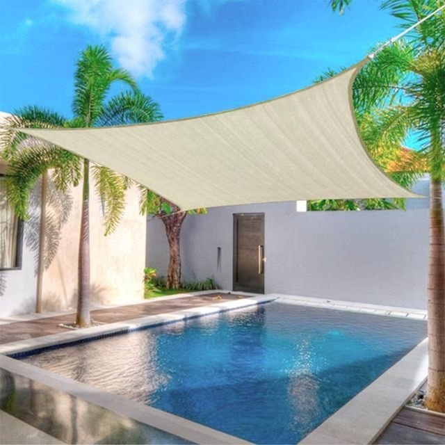 4x2m 3x5m Waterproof Sunproof Mesh Net Sun Shade Sail Uv Protection Sun Shelter Awning Sunshade Nets Yard Garden Hiking Review Shade Sails Patio Shade Sail Sun Sail Shade