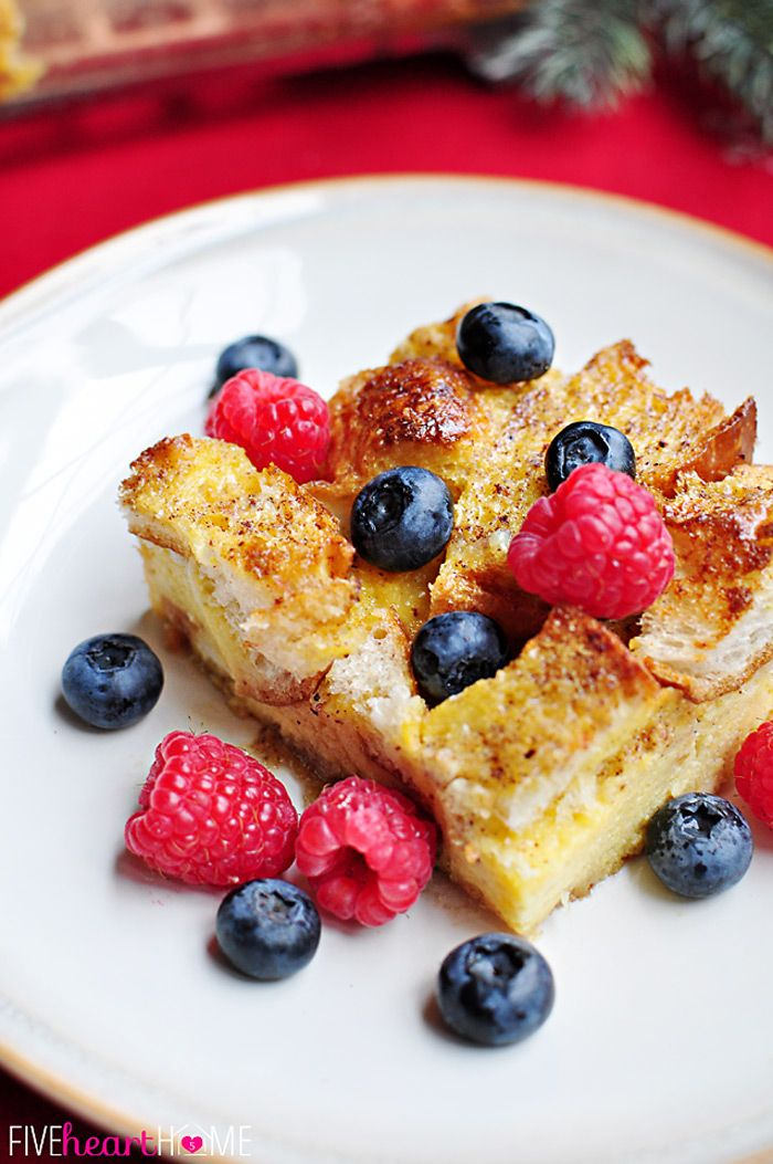 Overnight Eggnog French Toast Casserole ~ perfect, make-ahead breakfast for Christmas morning!   {Five Heart Home}