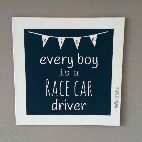 Leuk schilderijtje voor de jongenskamer met auto thema