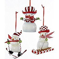 "3.25"" Peppermint Twist Red and White Glittered Sledding Snowman Christmas Ornament"