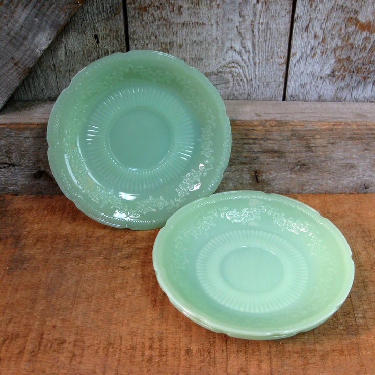 Vintage Fire King, Alice Jadeite Saucers