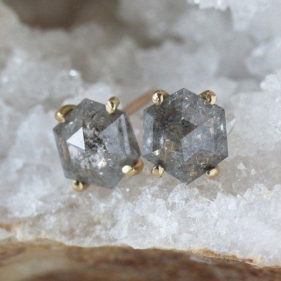 6a00b08effcad Diamond Hexagon Stud Earrings, Hexagonal Rose Cut Salt and Pepper ...