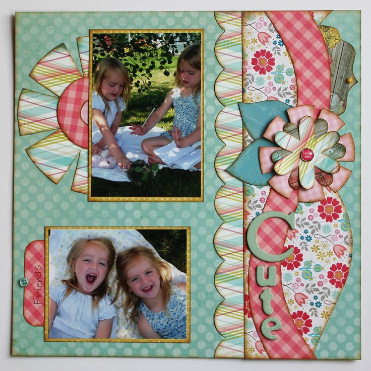 "Kiwi Lane Design Templates Scrapbook Layout ""Two Cute"" Page 1 of 2"