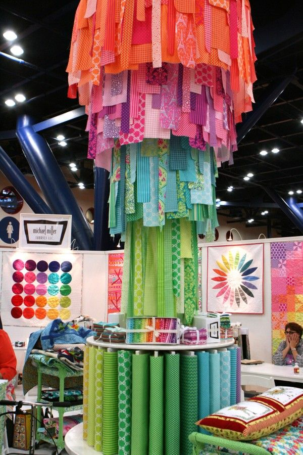 Fabric strip chandelier in the Michael Miller booth at Quilt Market 2012