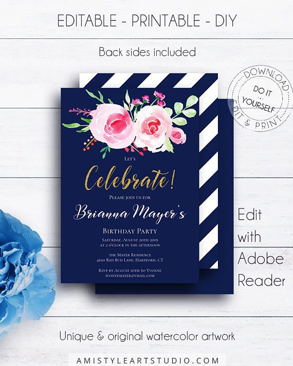 Navy Floral Birthday Invitations, with elegant and romantic hand-painted watercolor roses on navy blue backround - in whimsical and chic style.This lovely watercolor birthday invite template is an instant download EDITABLE PDF so you can download it right away, DIY edit and print it at home or at your local copy shop by Amistyle Art Studio on Etsy