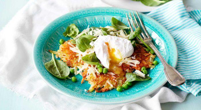 Morotsrårakor med pocherade ägg, spenat och ost