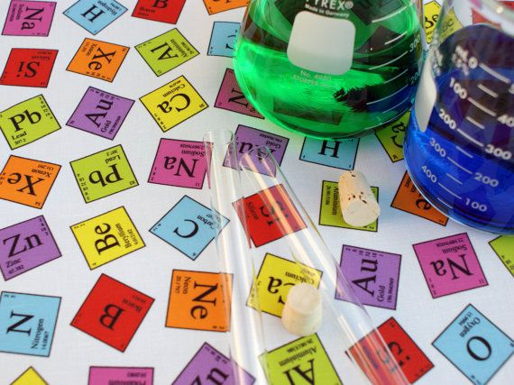 Periodic Elements Chemistry Science Kona Cotton Fat by robyriker, $8.00