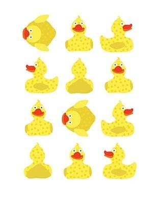 66% OFF pop & lolli Dancing Rubber Duckies Fabric Wall Decals