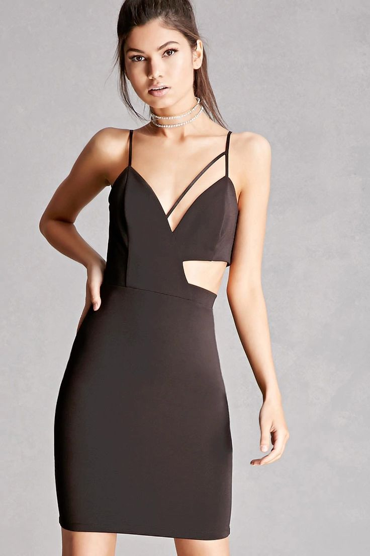 A knit dress featuring a side cutout, adjustable cami straps, a V-neckline with a cami strap across one side, lightly padded cups, an invisible back zipper, and a bodycon silhouette. This is an independent brand and not a Forever 21 branded item.