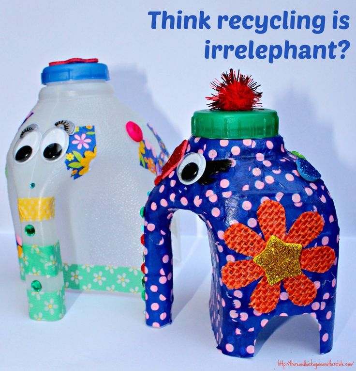 Milk Bottle Elephant tutorial a really sweet idea for getting toddlers interested in crafting and to start a conversation about recycling too! Oh and an elephant pun too!