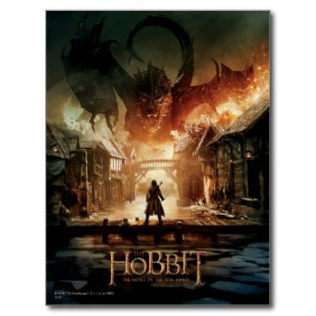 The Hobbit: The Battle of the Five Armies | This movie poster features Smaug destroying Laketown and headed towards BARD THE BOWMAN™ waiting on a bridge. #the #hobbit #battle #of #five #armies #middle #earth #smaug #bard #laketown #dragon #epic #battle #movie #poster #luke #evans #benedict #cumberbatch #lake #town #destruction #fire #tolkien #j.r.r. #tolkien #peter #jackson
