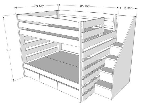 Solid wood queen bunk beds with stairs and storage. Kid-tough & plenty sturdy for adults. Custom built to order in Ohio. Choose your finish, style & options!