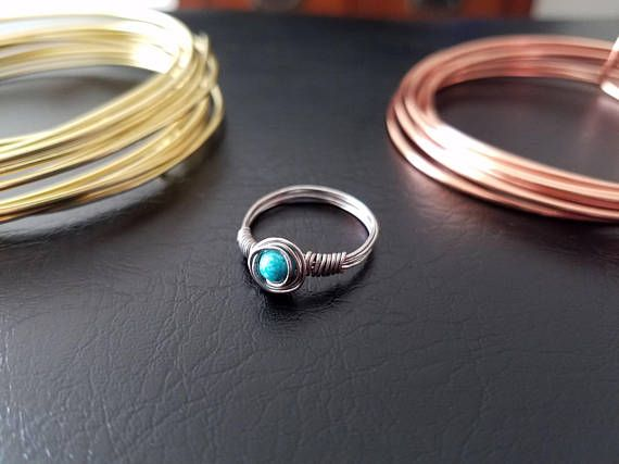 Turquoise Stone Wire Wrapped Ring Sterling Silver or Silver