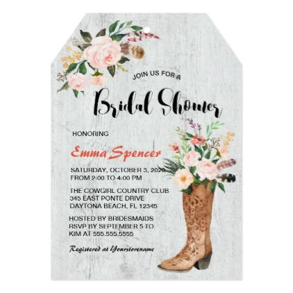 Rustic Boho Cowgirl Floral Boots Bridal Shower l Card - floral bridal shower gifts wedding bride party