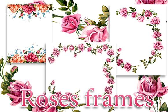 Frame from roses. Roses brunch. by maria.kytyzova on @creativemarket
