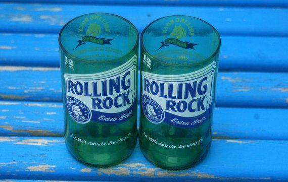 Rolling Rock Beer Bottle Glasses- Set of 2