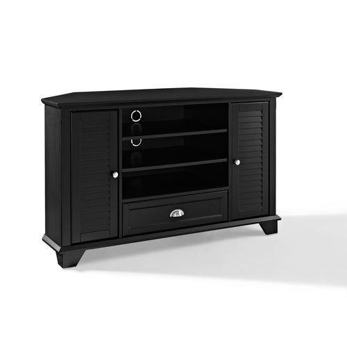 Palmetto Black 50-Inch Corner TV Stand