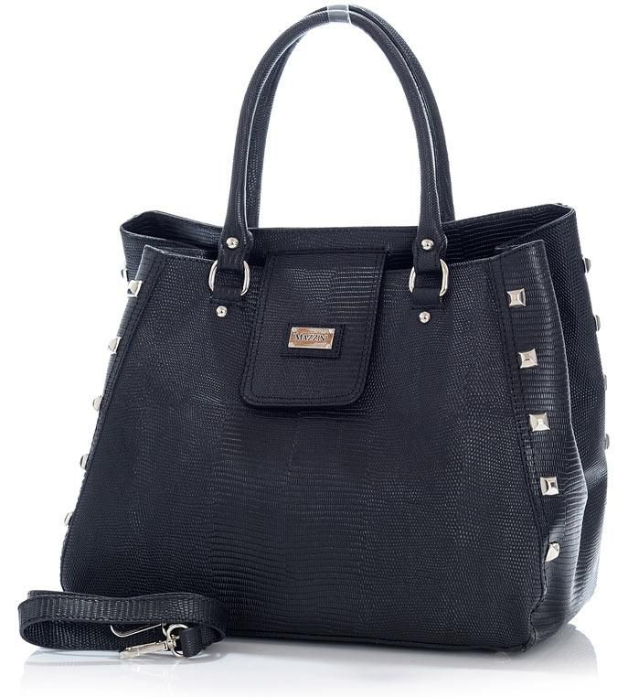 Designerska torebka kufer czarny skóra MAZZINI - Roberta Lux