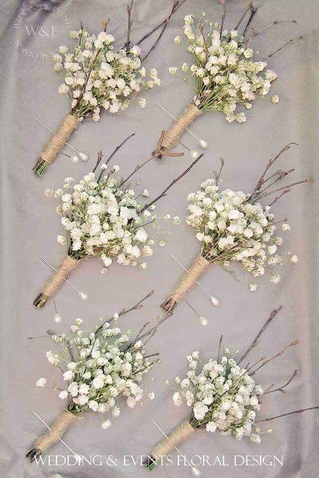 Did you know gypsophila (aka baby's breath) is an Australian native? It looks fabulous used on its own, especially with rustic accessories like jute twine, as in these buttonholes.