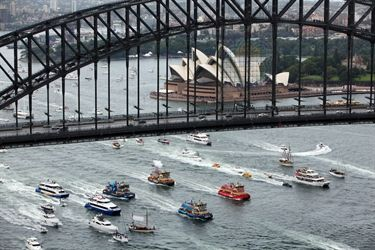 Australia Day ferry race on Sydney Harbour