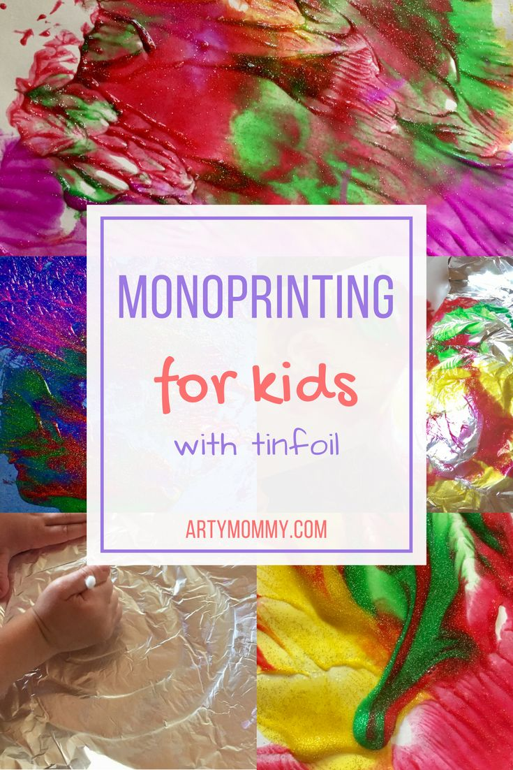 monoprint-making for kids – ARTY MOMMY: Show your kids how the printing process works! With just tinfoil, paint and a cotton swab, you can make vibrant designs again and again. This activity renders beautiful abstract art and was developed for kids preschool-age and up.
