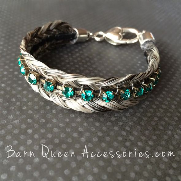 Rhinestone horse hair bracelet is a double braided bracelet made with your horse's tail hairs! This bracelet comes in many colors, and all materials and findings are made to match your horse's colo...