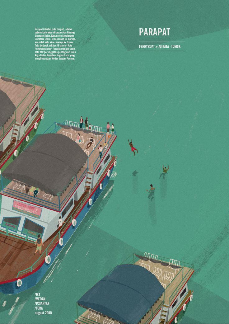 Illustration Travel - TOBA  #travel #illustration #toba #indonesia #landscape #lake #nature #sumatera #northsumatera #samosir #parapat #ferryboat #vulcaniclake
