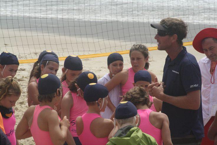 Coach Matt Grinlaub giving the nippers instruction