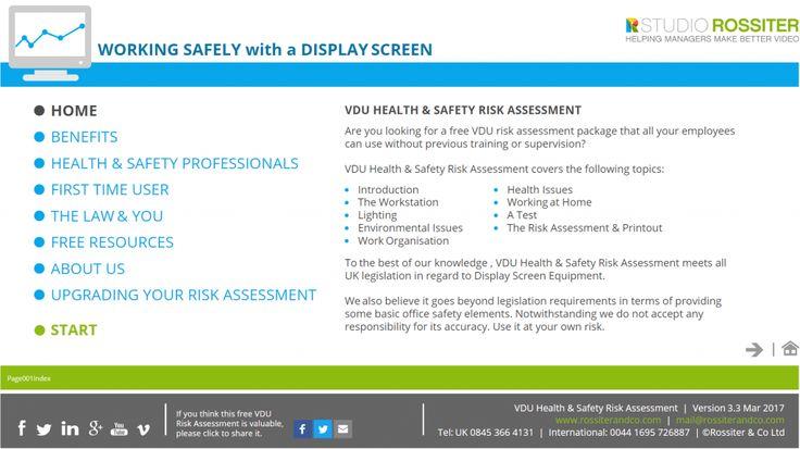 Display Screen Risk Assessment  Video Production