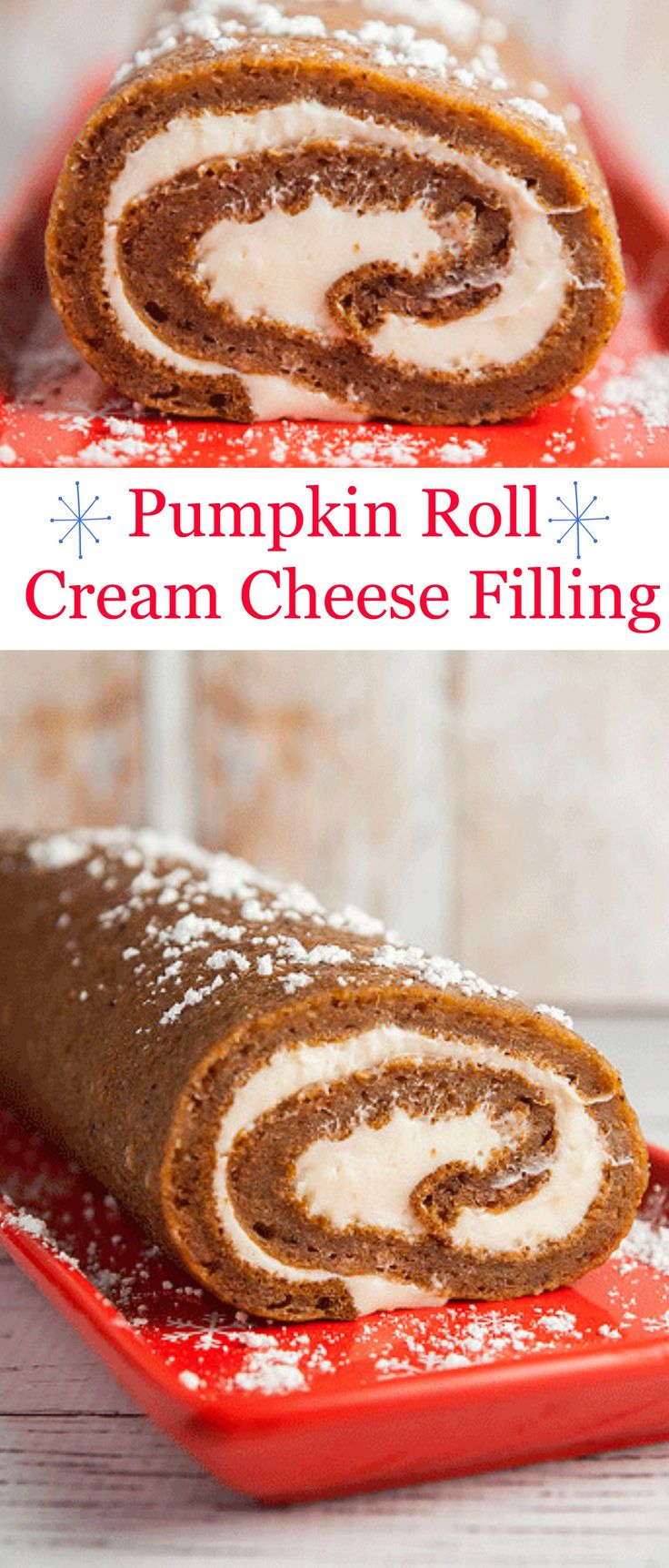 This makes the best Thanksgiving dessert! A delicious and moist Pumpkin Roll with cream cheese filling inside.