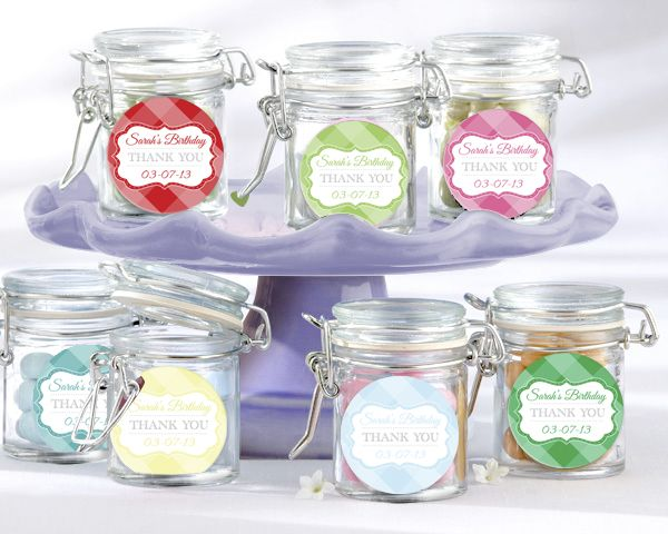 gingham personalised candy jars