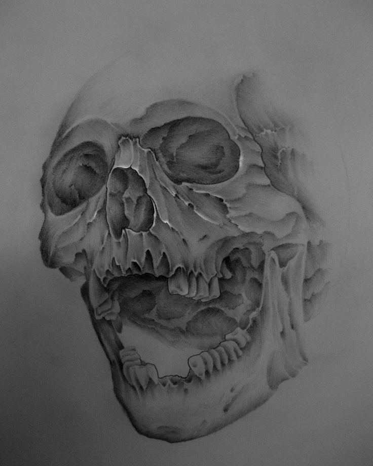 how to draw a skull with the jaw open