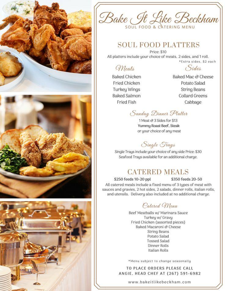 Bake it like beckham soul food catering menu