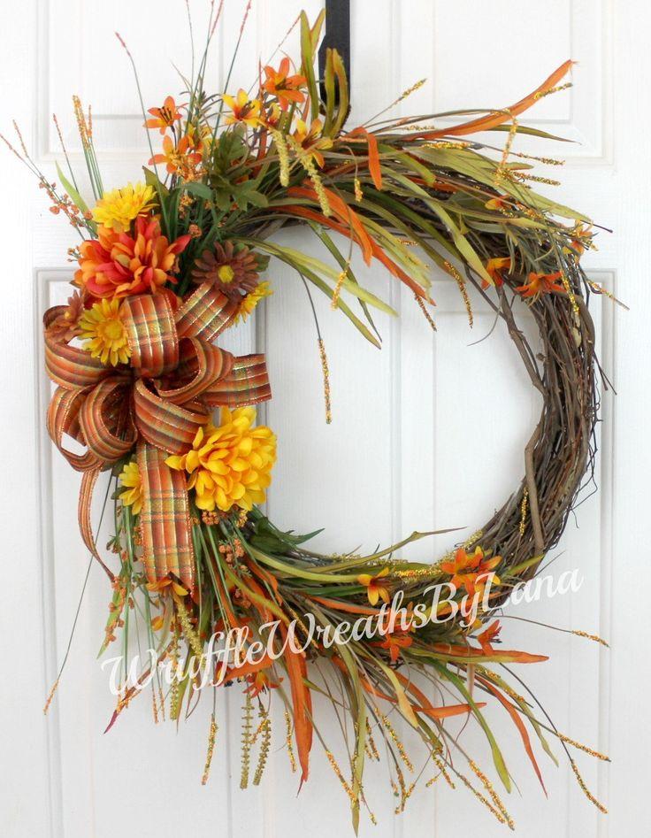 Fall Grapevine Wreath, Fall Wreath, Grapevine Wreath, Halloween Wreath, Thanksgiving Wreath, Front Door Wreath by WruffleWreathsbyLana on Etsy