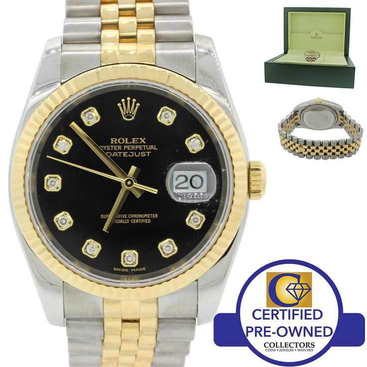 MINT Rolex DateJust Jubilee 116233 Factory Diamond Steel Gold Two Tone Watch