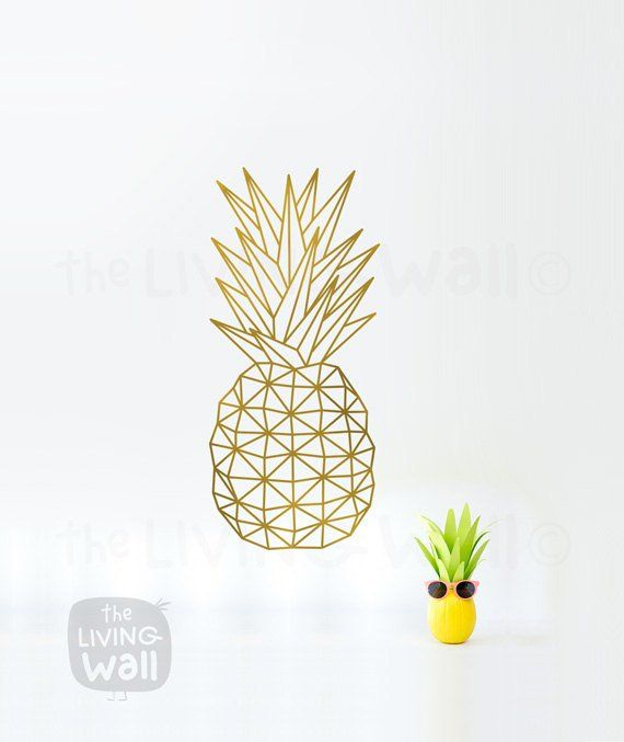 Geometric Pineapple Wall Art Fruit Stickers Wall Decal Decor