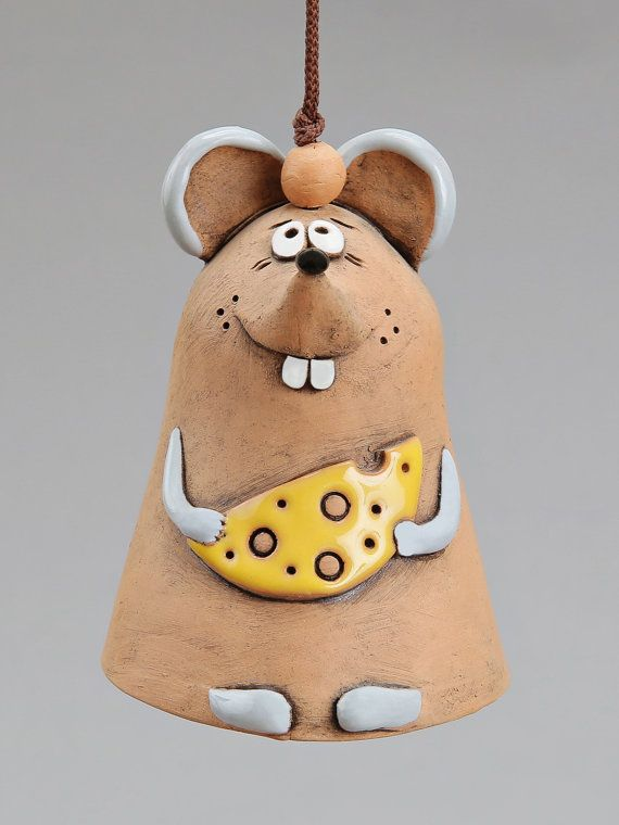 Ceramic Mouse Bell The Mouse with Cheese Kids toy by Molinukas